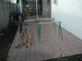 Terrasse bois Jatoba - pose des montants au sol